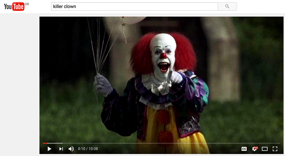you tube marketing killer clown
